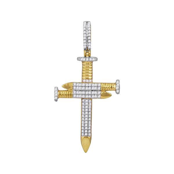 Mens Diamond 3 Nail Cross Charm Pendant 3/4 Cttw 10kt Yellow Gold
