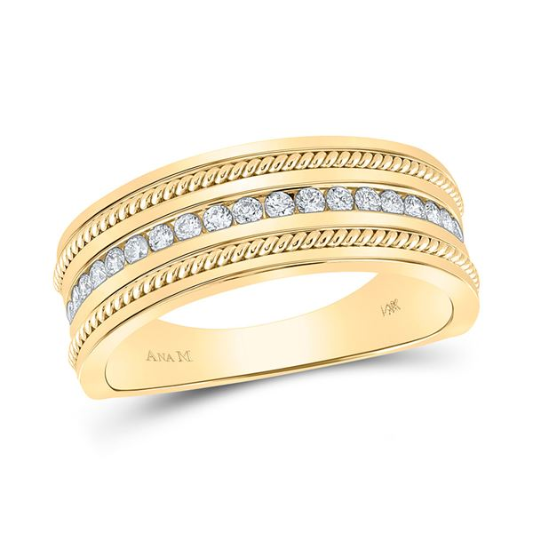 Mens Diamond Wedding Rope Band Ring 1/3 Cttw 14kt Yellow Gold