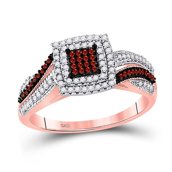 Red Color Enhanced Diamond Square Cluster Ring 3/8 Cttw 10kt Rose Gold
