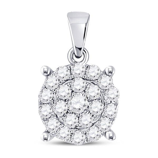 Diamond Cluster Pendant 1/2 Cttw 10kt White Gold