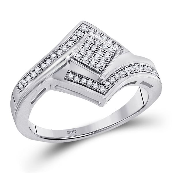 Diamond Offset Square Cluster Ring 1/6 Cttw 10kt White Gold