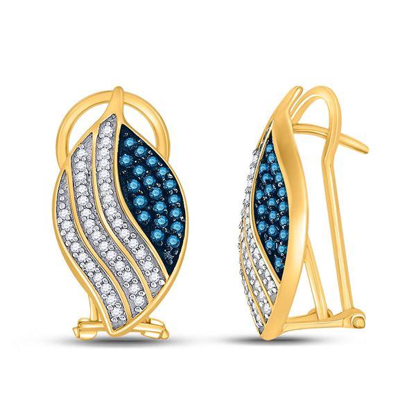 Blue Color Enhanced Diamond Fashion Earrings 1/2 Cttw 10kt Yellow Gold