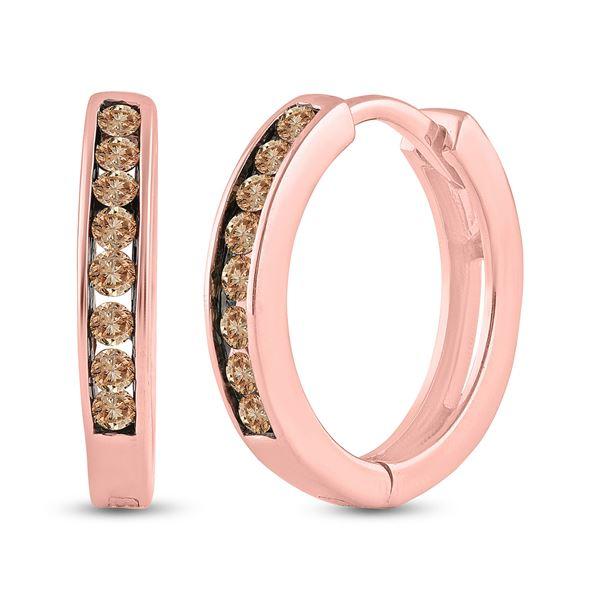 Brown Diamond Hoop Earrings 1/4 Cttw 14kt Rose Gold
