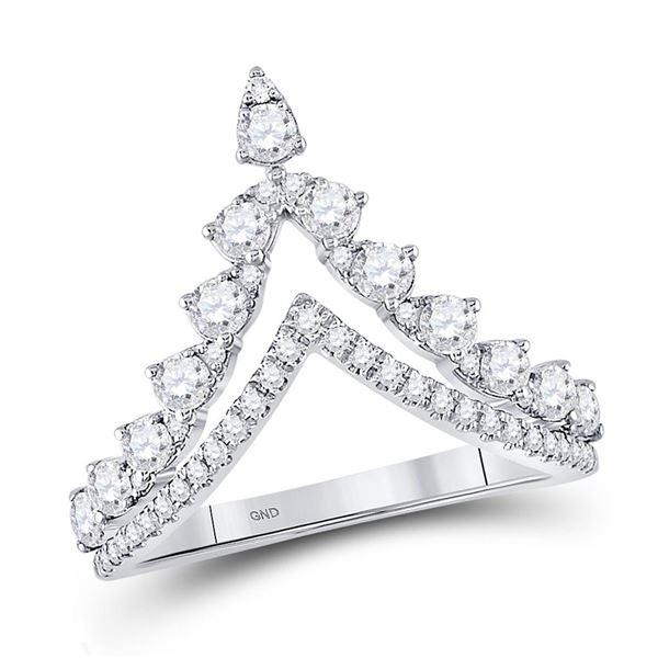 Diamond Chevron Band Ring 3/4 Cttw 14kt White Gold