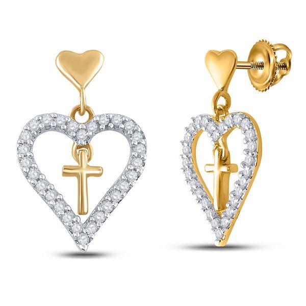 Diamond Heart Cross Dangle Earrings 1/3 Cttw 14kt Yellow Gold
