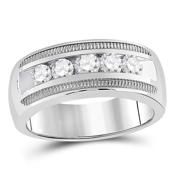 Mens Diamond Wedding 5-Stone Band Ring 1 Cttw 14kt White Gold