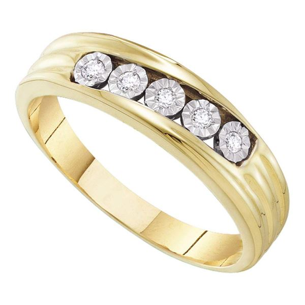 Mens Diamond 5-Stone Band Ring 1/10 Cttw 10kt Yellow Gold