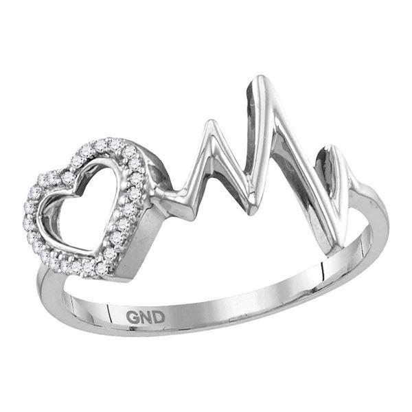 Diamond Heart Heartbeat Ring 1/20 Cttw Sterling Silver