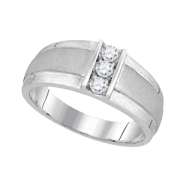 Mens Diamond Wedding 3-Stone Band Ring 1/4 Cttw 10kt White Gold