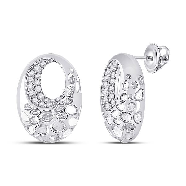 Diamond Pitted Oval Earrings 1/5 Cttw 14kt White Gold