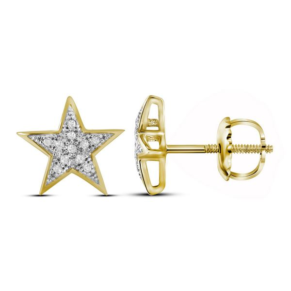 Diamond Star Earrings 1/20 Cttw 10kt Yellow Gold