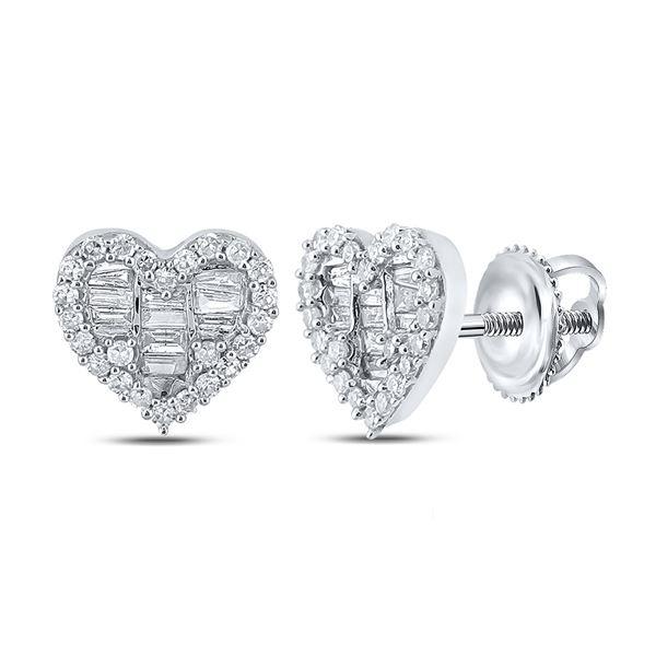 Baguette Diamond Heart Earrings 3/8 Cttw 10kt White Gold