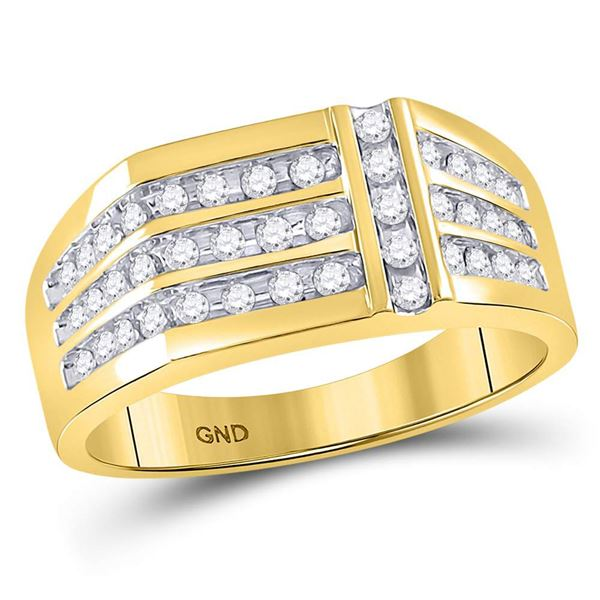 Mens Diamond Triple Row Intersecting Fashion Ring 1/2 Cttw 14kt Yellow Gold