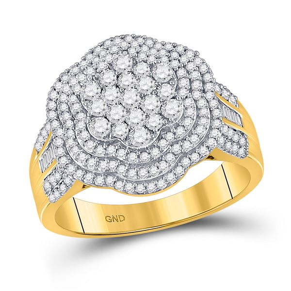 Mens Diamond Large Cluster Band Ring 1-1/2 Cttw 10kt Yellow Gold