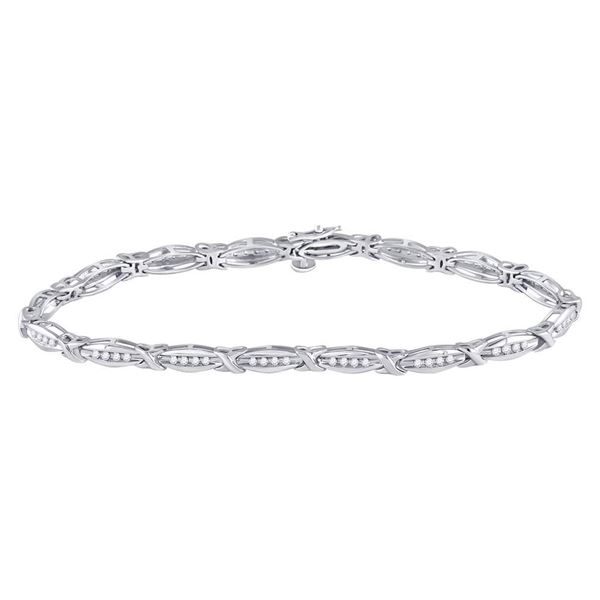 Diamond X Link Fashion Bracelet 1/2 Cttw 10kt White Gold