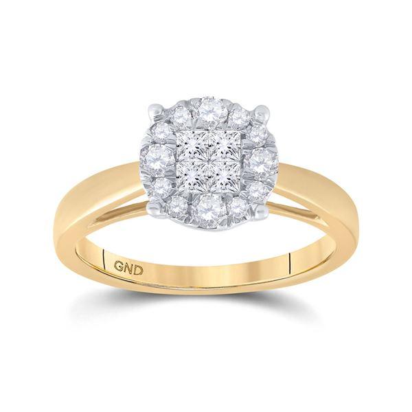 Princess Diamond Bridal Wedding Engagement Ring 1/2 Cttw 14kt Yellow Gold