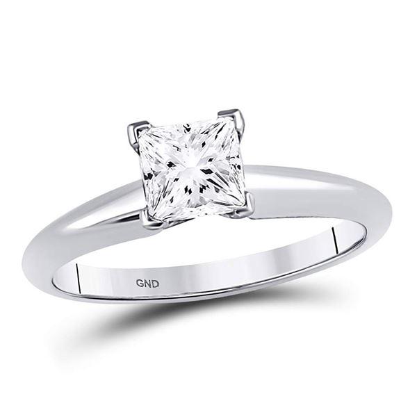 Princess Diamond Solitaire Bridal Wedding Engagement Ring 1 Cttw 14kt White Gold