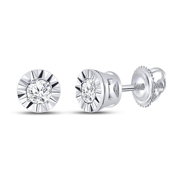 Diamond Solitaire Illusion-set Stud Earrings 1/10 Cttw 10kt White Gold