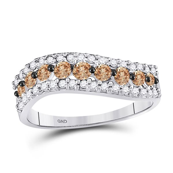 Brown Diamond Contoured Band 3/4 Cttw 10kt White Gold