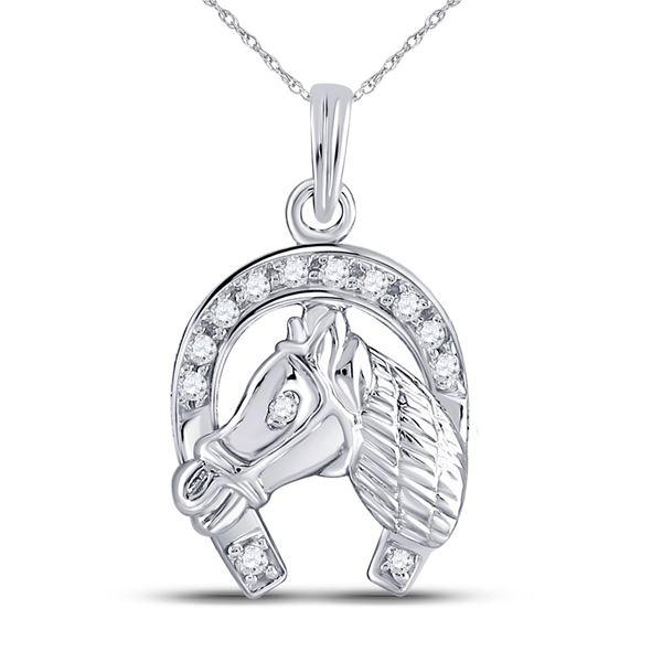 Diamond Lucky Horseshoe Charm Pendant 1/10 Cttw 10kt White Gold