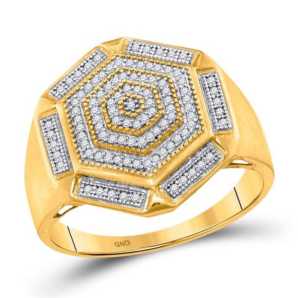 Mens Diamond Hexagon Cluster Ring 1/3 Cttw 10kt Yellow Gold