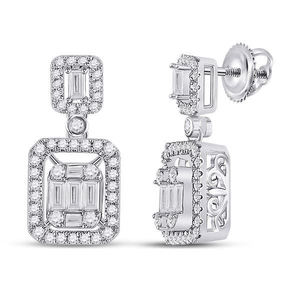 Baguette Diamond Rectangle Dangle Earrings 1 Cttw 14kt White Gold