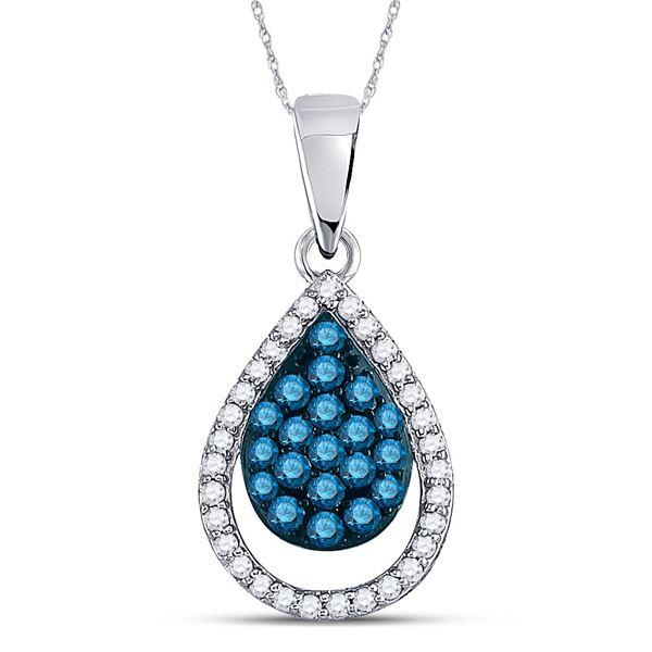 Blue Color Enhanced Diamond Teardrop Pendant 1/2 Cttw 10kt White Gold