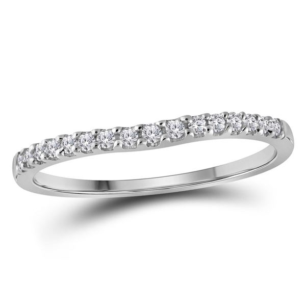Diamond Single Row Contoured Wedding Band 1/6 Cttw 10kt White Gold