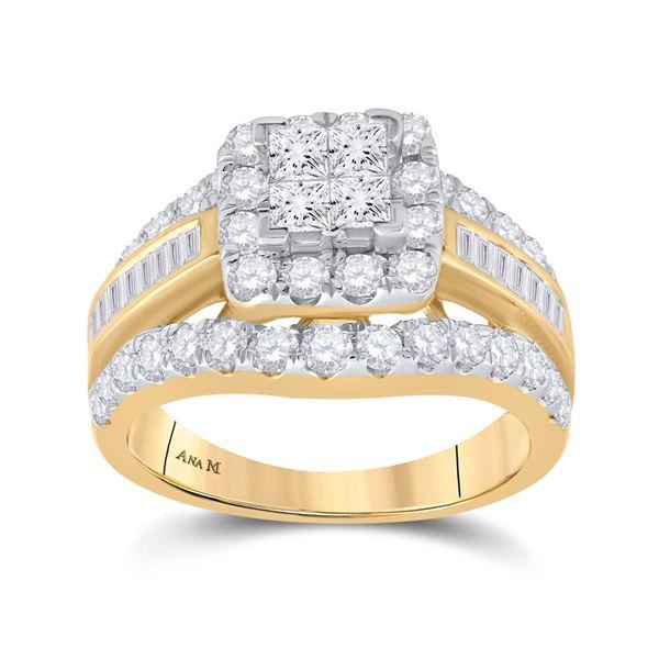 Princess Diamond Cluster Bridal Wedding Engagement Ring 2 Cttw 14kt Yellow Gold