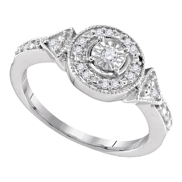 Diamond Halo Solitaire Ring 1/8 Cttw Sterling Silver