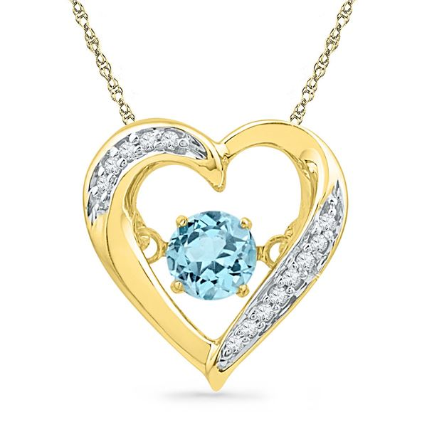 Lab-Created Blue Topaz Moving Twinkle Heart Pendant 3/8 Cttw 10kt Yellow Gold