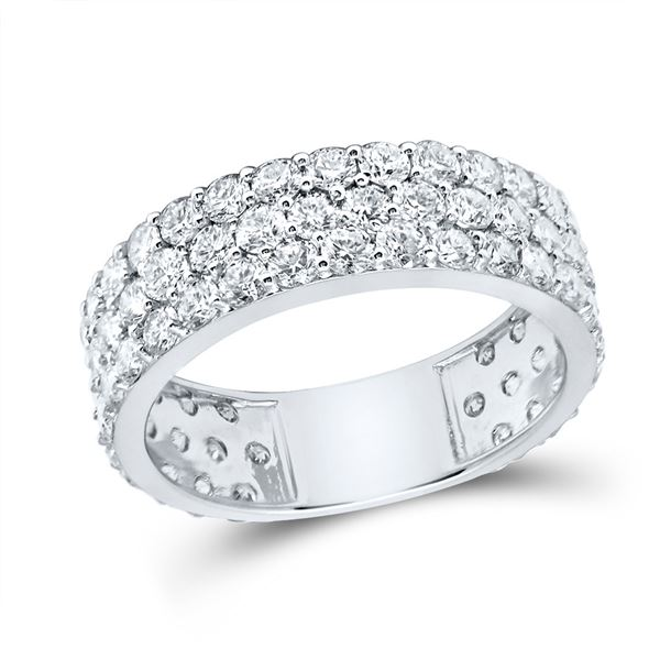 Diamond Pave Band Ring 3 Cttw 14kt White Gold