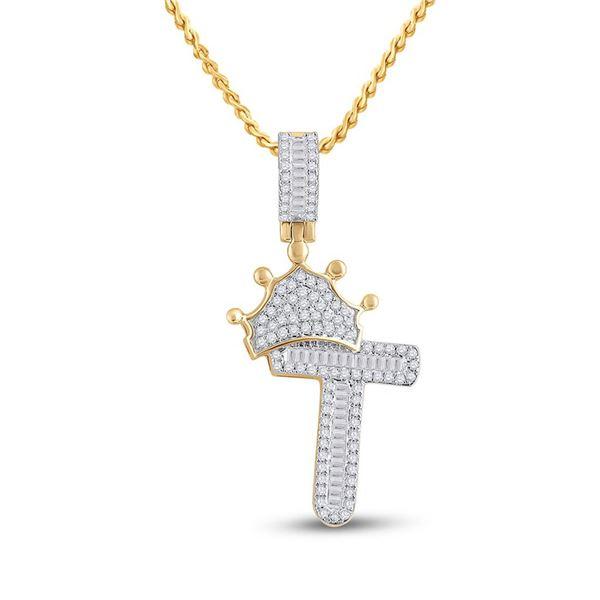 Mens Baguette Diamond Crown T Letter Charm Pendant 1/2 Cttw 10kt Yellow Gold