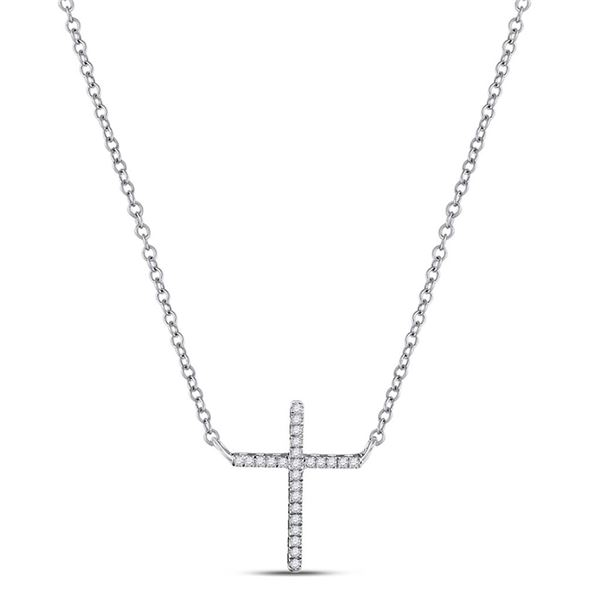 Diamond Cross Religious Pendant Necklace 1/12 Cttw 10kt White Gold