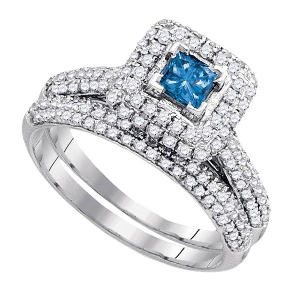 Princess Blue Color Enhanced Diamond Bridal Wedding Ring Set 1-1/4 Cttw 14kt White Gold