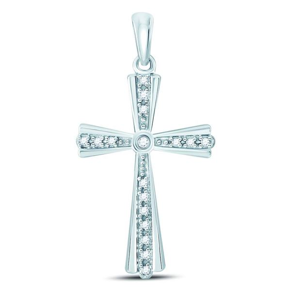 Diamond Religious Cross Pendant 1/10 Cttw 10kt White Gold