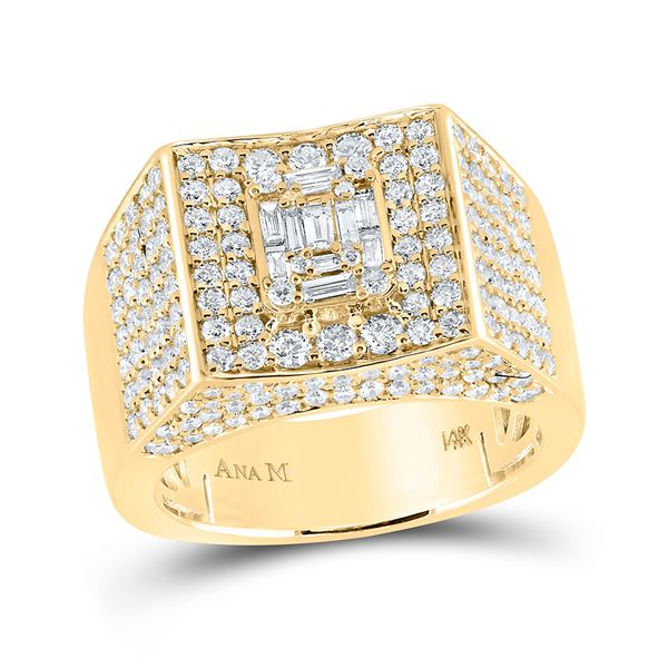 Mens Baguette Diamond Square Ring 2-3/4 Cttw 14kt Yellow Gold