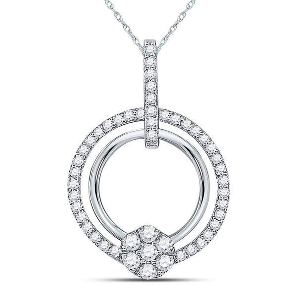 Diamond Circle Cluster Pendant 3/8 Cttw 10kt White Gold