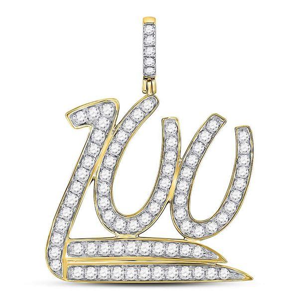 Mens Diamond 100 Hundred Emoji Charm Pendant 1-1/4 Cttw 10kt Yellow Gold