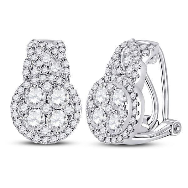 Diamond French-clip Hoop Cluster Earrings 1-5/8 Cttw 14kt White Gold