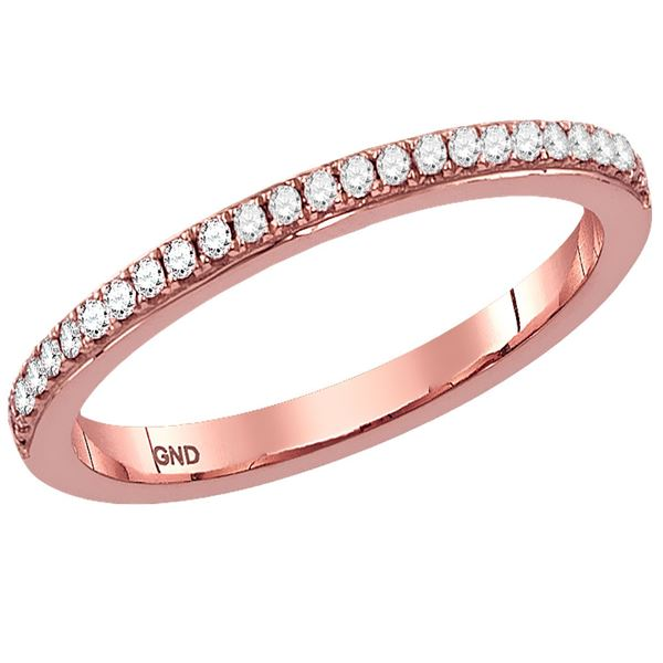 Diamond Single Row Stackable Band Ring 1/8 Cttw 14kt Rose Gold