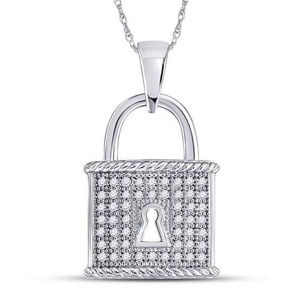 Diamond Key Lock Dangle Pendant 1/8 Cttw 10kt White Gold