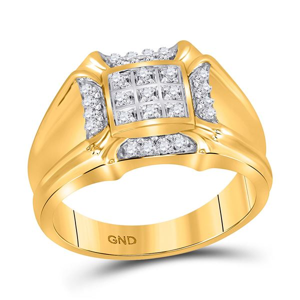 Mens Diamond Cluster Ring 1/4 Cttw 10kt Yellow Gold