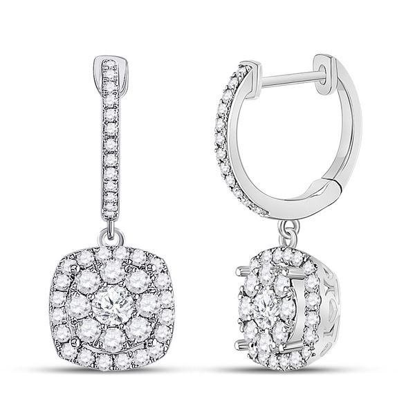 Diamond Hoop Square Dangle Earrings 1 Cttw 14kt White Gold