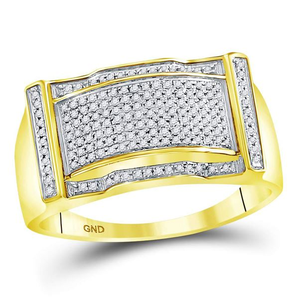 Mens Diamond Rectangle Cluster Ring 1/3 Cttw 10kt Yellow Gold