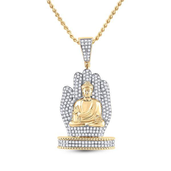 Mens Diamond Buddha Hand Charm Pendant 1-3/4 Cttw 10kt Yellow Gold