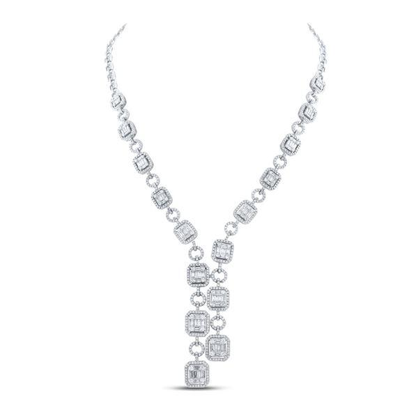 Baguette Diamond Fashion Necklace 6 Cttw 14kt White Gold