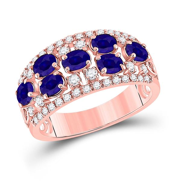 Oval Blue Sapphire Diamond Band Ring 1-7/8 Cttw 14kt Rose Gold