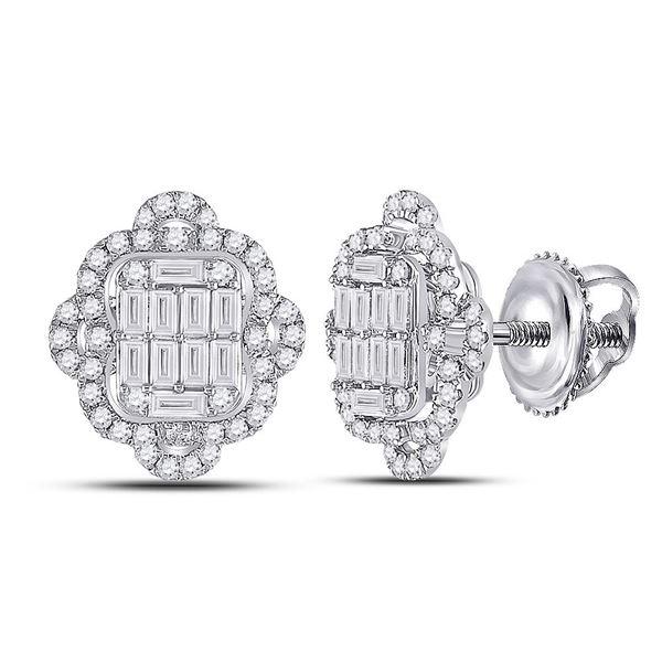 Baguette Diamond Quatrefoil Cluster Earrings 1 Cttw 14kt White Gold