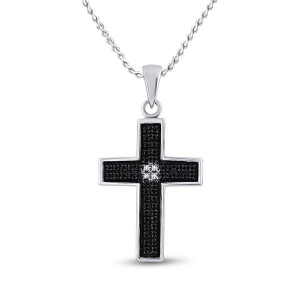 Black Color Enhanced Diamond Cross Pendant 1/6 Cttw Sterling Silver